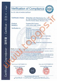 Certificate for jimi and Concox JV03 Magnetic GPS Tracker